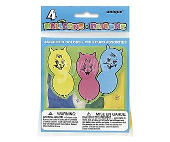 UNIQUE Globos de colores surtidos con formas de animales 4 unidades