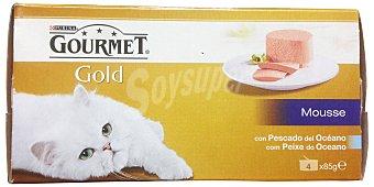 Gourmet Purina Comida gato mousse delicias del oceano Gold Lata pack 4 x 85 g - 340 g
