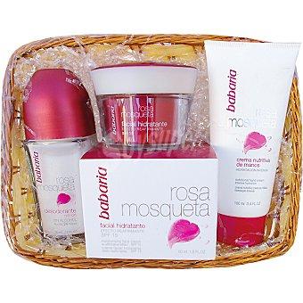 Babaria Cesta rosa mosqueta con crema facial hidratante tarro 50 ml + crema nutritiva de manos tubo 100 ml + desodorante roll-on 75 ml 1 lote