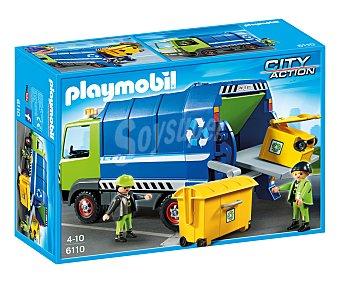 Playmobil Playset de juego Camión de reciclaje, incluye 2 figuras y accesorios, modelo 6110 City Action 1 unidad