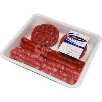 MASCARNE Surtido para barbacoa con hamburguesas de vacuno, salchichas rojas y blancas Bandeja 800 g