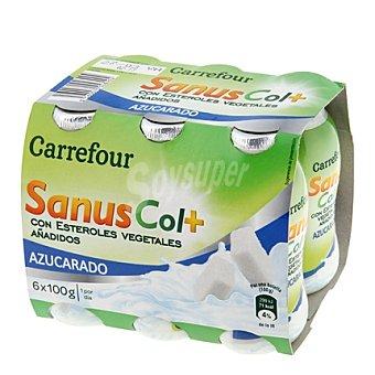 Carrefour Yogur líquido Sanuscol natural azucarado 6 unidades de 100 g