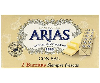 Arias Barritas de mantequilla tradicional con sal 2 x 62.5 gr