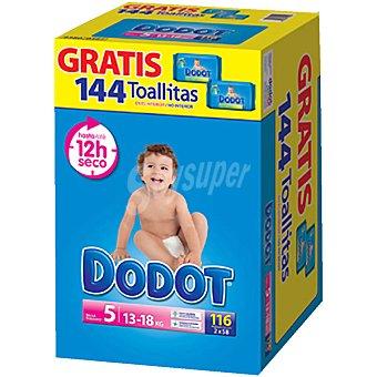 Dodot Pañales de 13 a 18 kg talla con regalo de 144 toallitas 5 caja 116 unidades