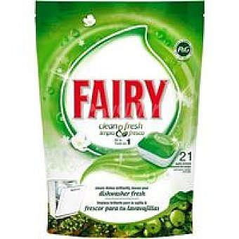 Fairy Lavavajillas máquina Limpio y Fresco Manzana 21 dosis