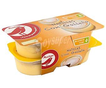 Auchan Natillas de vainilla con galleta y sin aceite de Palma Pack 4 x 125 g