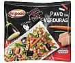 Salteado de pavo con brotes de cebolla, judias verdes, zanahoria y berenjena 400 g Fripozo