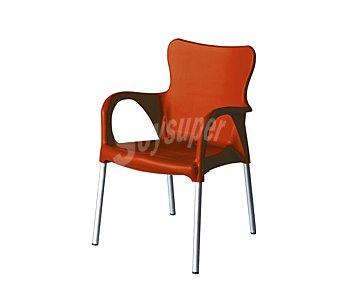 Garden life Silla fija apilable para jardín, con estructura de tubo de aluminio, asiento, respaldo y reposabrazos de resina de color rojo y medidas de 46 x 43 x 86 centímetros 1 unidad