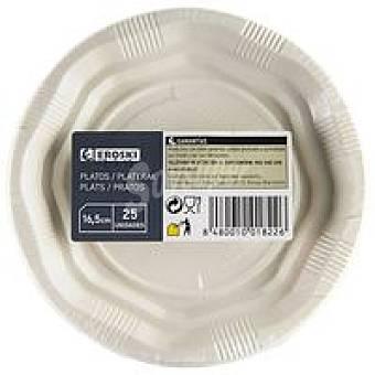 Eroski Plato blanco de plástico 16 cm Pack 25 unid