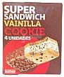 Helado sandwich super vainilla con cookies Caja 4 u Hacendado