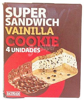 Hacendado Helado sandwich super vainilla con cookies Caja 4 u