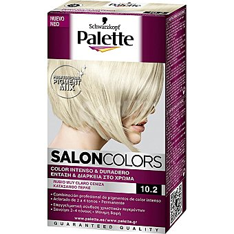 Schwarzkopf Palette Tinte nº 10.2 Rubio Muy Claro Ceniza color intenso y duradero Salon Colors Caja 1 unidad