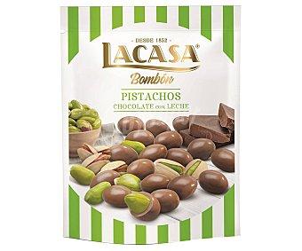 Lacasa Bombón de pistachos cubiertos de chocolate con leche Bolsa 125 g