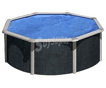 GRE Piscina redonda con pared de acero, exterior en imitación a rattan, escalera de seguridad de tijera, depuradora de arena con capacidad de 3000 litros/hora, medidas de 350x120 centímetros y capacidad de 11470 litros 1 unidad