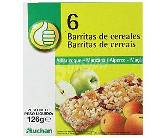 Productos Económicos Alcampo Cereales en barrita con manzana y albaricoque Pack de 6 uds
