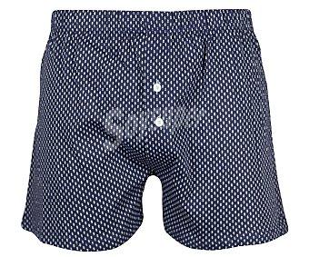Calzoncillo boxer de algodón con botones 2U, color azul, talla M.