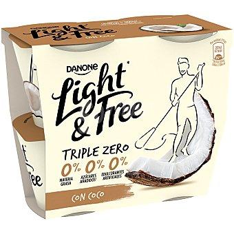 Light & Free Danone Yogur con coco Pack 4 x 115 g