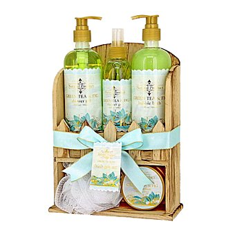 Natural Product Set de baño estanteria madera de Té Verde 1 ud