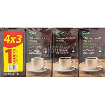 El Corte Inglés café mezcla molido +1 gratis pack ahorro 3 paquetes 250 g