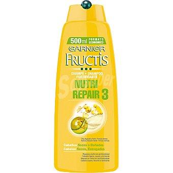 Fructis Garnier champú fortificante Nutri Repair 3 cremoso con Oliva Aguacate y Karité para cabello seco o dañado frasco 500 ml