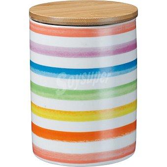CASACTUAL Strippes Tarro de porcelana con tapa de bambú 500 g a rayas de colores 1 Unidad