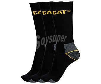 CAT Pack de 3 pares de calcetines de algodón peinado, con talón y puntera reforzados, color negro, talla 41/45 Pack de 3