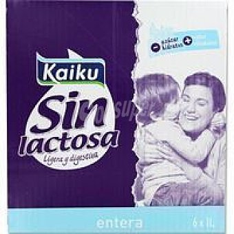 Kaiku Leche entera sin lactosa Pack 6 x 1 litro