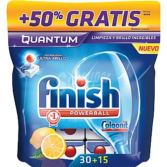 Finish Detergente lavavajillas Power Ball Quantum limón Caja 30 pastillas