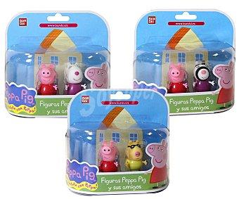 Bandai Pack de 2 Figuras de Peppa Pig y sus Amigos 1 Unidad