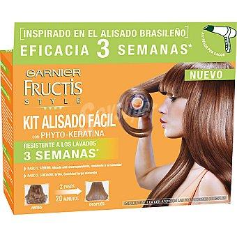 Fructis Style Garnier kit alisado fácil con Phyto-Keratina paso primero serúm alisador anti-encrespamiento y paso segundo brillo y suavidad resistente a los lavados