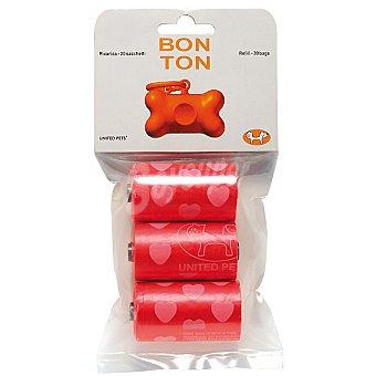 BON TON Recambio de bolsas para cualquier tipo de dispensador Paquete 3 rollos