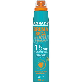 Agrado Bruma seca solar SPF-15 resistente al agua Spray 200 ml