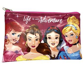 Disney Princesas Estuche portatodo con efecto espejo, cierre con cremallera, diseño disney
