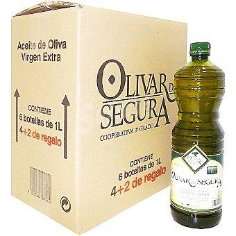 OLIVAR DE SEGURA aceite de oliva virgen extra caja botellas gratis 4 botellas 1 l + 2
