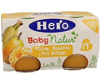 Hero Baby Tarrito de plátano, mandarina y pera Pack 2 u x 130 g
