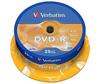 Verbatim Tarrina de 25 dvd-r 4,7GB 16x verbatim
