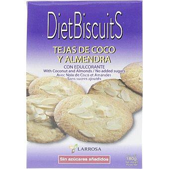 LARROSA Dietbiscuits tejas de coco y almendra con edulcorante y sin azucares añadidos Envase 180 g