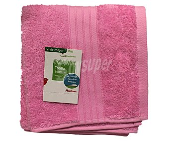 AUCHAN Toalla de algodón para lavabo lisa, color rosa, 50 x90 centímetros 1 Unidad