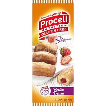 Proceli Bizcochos rellenos de fresa sin gluten  6 unidades (210 g)