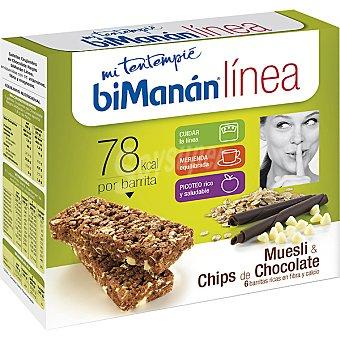Bimanan Linea Mi Tentempié Muesli & Chips de chocolate barritas 6 x 21 g caja 186 g 6 x 21 g