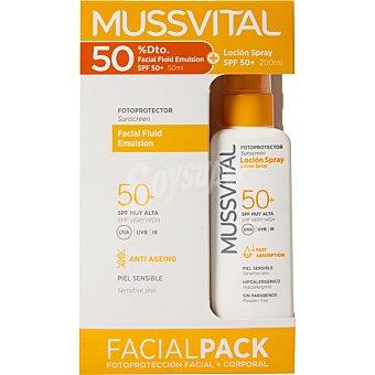Mussvital fotoprotector loción spray SPF 50+ para piel sensible y fotoprotector facial fluido pack 2 unidades