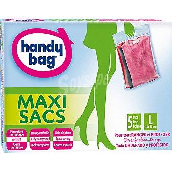 Handy bag Bolsa multiusos Maxi Sacs ahorra espacio con cierre hermético talla L caja 5 unidades 5 unidades
