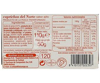Auchan Surimi de caprichos del norte al ajillo 50 gramos