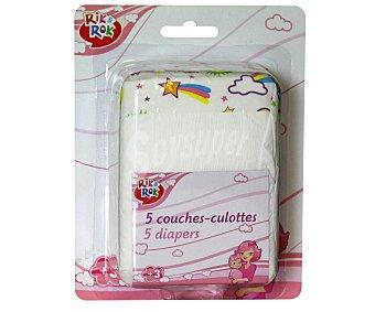 Rik&Rok Auchan Pack de 5 pañales para muñecos bebé Pack de 6 unidades