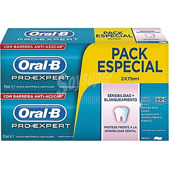 ORAL B Pro-Expert Pasta de dientes Sensibilidad + Blanqueante con flúor sabor menta pack 2 tubo 75 ml Pack 2 tubo 75 ml