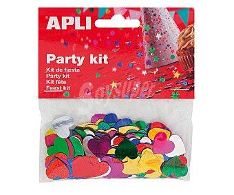APLI Bolsa kit de fiesta, lentejuelas con forma de corazones de diferentes colores, 14 gramos 1 unidad