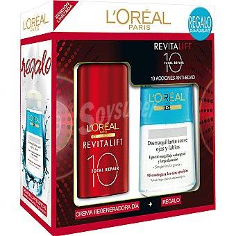 Revitalift L'Orèal Paris Crema regeneradora de día + desmaquillante suave de ojos y labios de regalo Frasco 50 ml