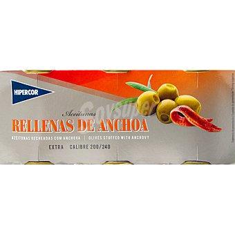 Hipercor Aceitunas rellenas de anchoa pack 3 latas 50 g neto escurrido Pack 3 latas 50 g