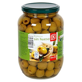 DIA Aceitunas manzanilla verde sin hueso frasco 400 gr Frasco 400 gr