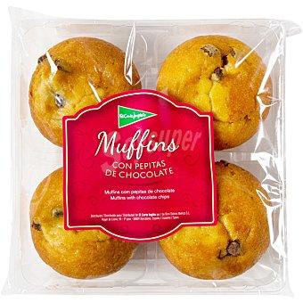EL CORTE INGLES Muffins con pepitas de chocolate 4 unidades (envase 300 g)